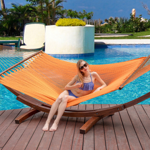 Lazy Daze Hammocks 55 Inch Double Caribbean Hammock Hand Woven Polyester Rope Outdoor Handmade Patio Swing Bed (Orange)