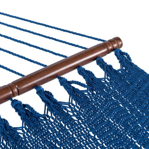 Lazy Daze Hammocks 55 Inch Double Caribbean Hammock Hand Woven Polyester Rope Outdoor Handmade Patio Swing Bed (Royal Blue)