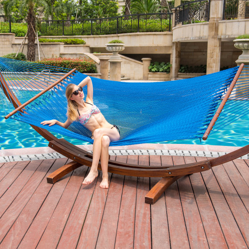 Lazy Daze Hammocks 55 Inch Double Caribbean Hammock Hand Woven Polyester Rope Outdoor Handmade Patio Swing Bed (Royal Blue)