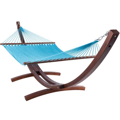 Lazy Daze Hammocks 55 Inch Double Caribbean Hammock Hand Woven Polyester Rope Outdoor Handmade Patio Swing Bed (Sky Blue)