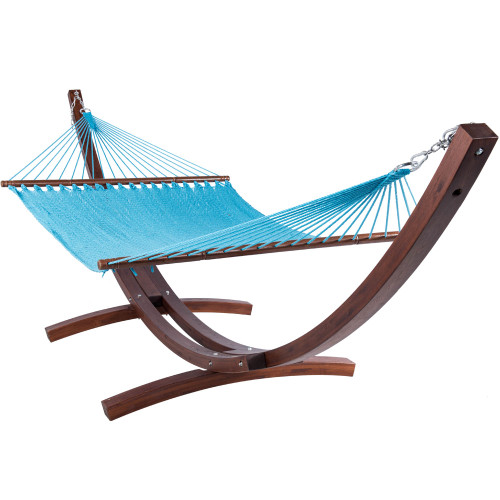 Lazy Daze Hammocks 55 Inch Double Caribbean Hammock Hand Woven Polyester Rope Outdoor Handmade Patio Swing Bed (Sky Blue)