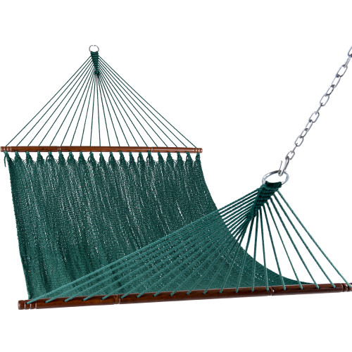 Lazy Daze Hammocks 55 Inch Double Caribbean Hammock Hand Woven Polyester Rope Outdoor Handmade Patio Swing Bed (Dark Green)