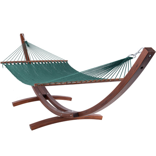Lazy Daze Hammocks 55 Inch Double Caribbean Hammock Hand Woven Polyester Rope Outdoor Handmade Patio Swing Bed (Dark Green)