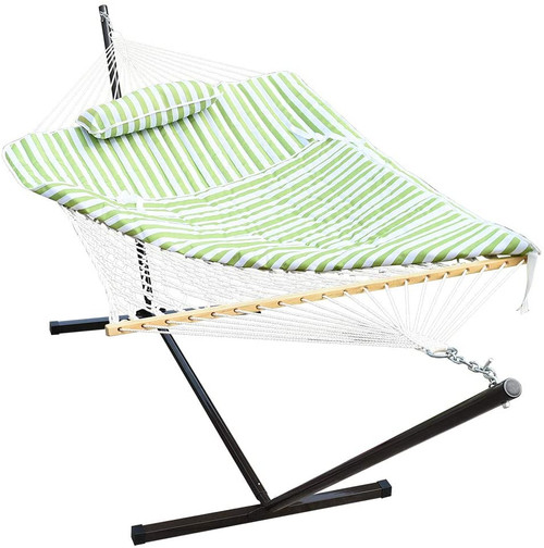 Lazy Daze Hammocks Cotton Rope Hammock with 12 Feet Steel Stand, Quilted Polyester Pad and Pillow (Green Stripe)