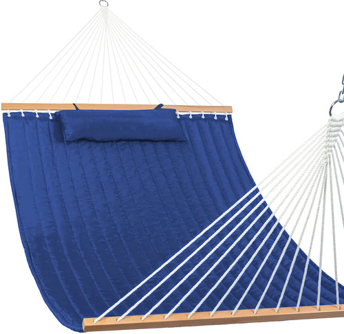 "Quilted Fabric Hammock Swing with Hardwood Spreader Bar and Poly Pillow, 55"" Double, Navy Blue"