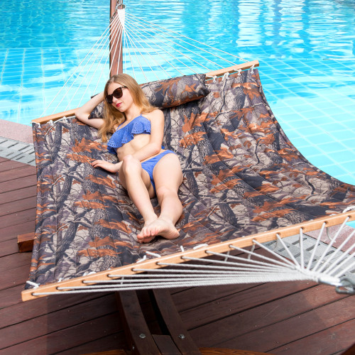 """Lazy Daze Hammocks 55"""" Double Quilted Fabric Hammock Swing with Pillow (Camouflage)"""