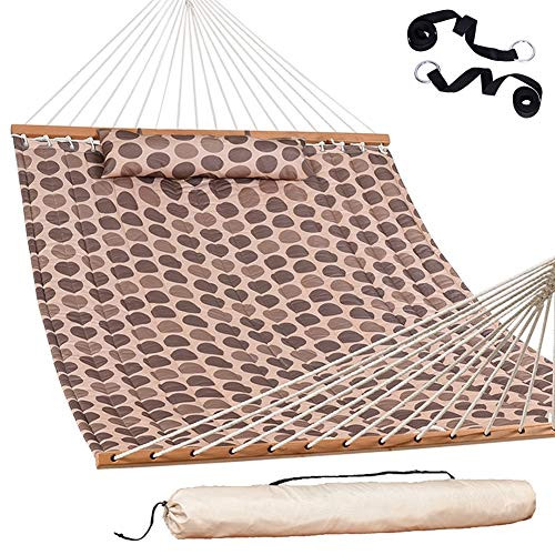 "Lazy Daze Hammocks 55"" Double Quilted Fabric Hammock Swing with Pillow and Carrying Bag, Romantic Coffee Bean"