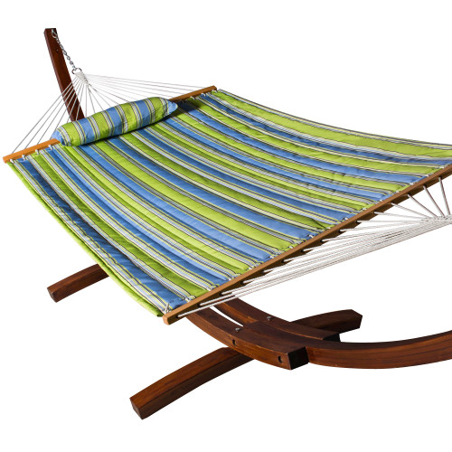 Lazy Daze Hammocks All Weather Olefin FadeSafe Fabric Quilted Hammock with Spread Bar for Two Person, 100% Solution Dyed and UV Protection Fabric, 450 Pounds Capacity, Parrot Stripe