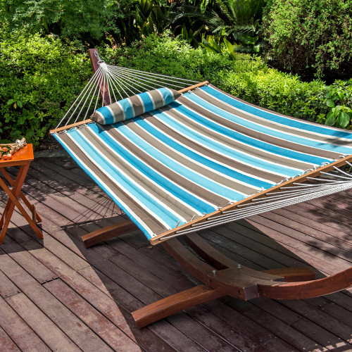 Lazy Daze Hammocks All Weather Olefin FadeSafe Fabric Quilted Hammock with Spread Bar for Two Person, 100% Solution Dyed and UV Protection Fabric, 450 Pounds Capacity, Cool Blue Stripe