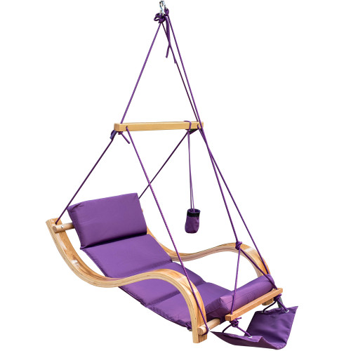 Lazy Daze Hammocks Patio Garden Outdoor Deluxe Hanging Hammock Lounger Chair with Cup Holder,Footrest&Hardware, Capacity 350 lbs (Purple)