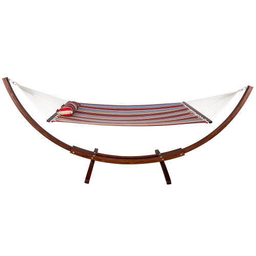 Lazy Daze Hammocks 12 Ft Wood Arc Hammock Stand With 2 Person Double Layer Polyester Fabric Hammock And Pillow