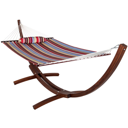 Lazy Daze Hammocks 12 ft. Wood Arc Hammock Stand with 2 Person Double Layer Polyester Fabric Hammock and Pillow