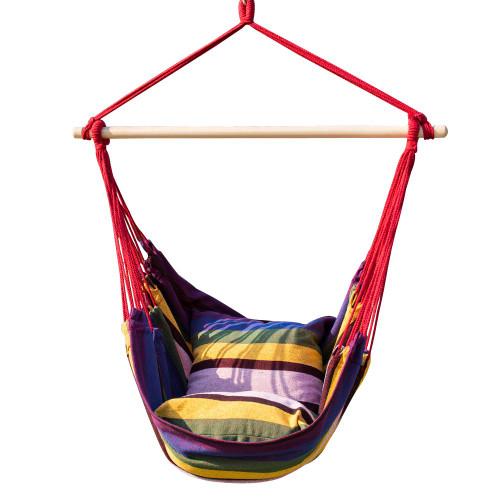 Hanging Rope Hammock Chair, Swing Seat, Two Seat Cushions, Rainbow Stripe
