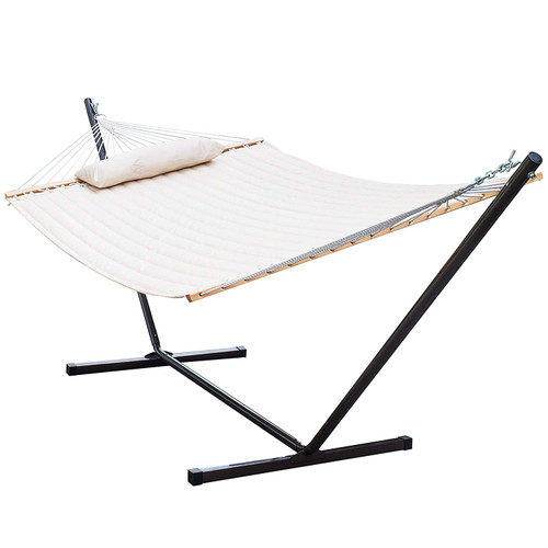 Lazy Daze Hammocks 12 Feet Steel Hammock Stand with Quilted Fabric Hammock Combo and Pillow, Natural