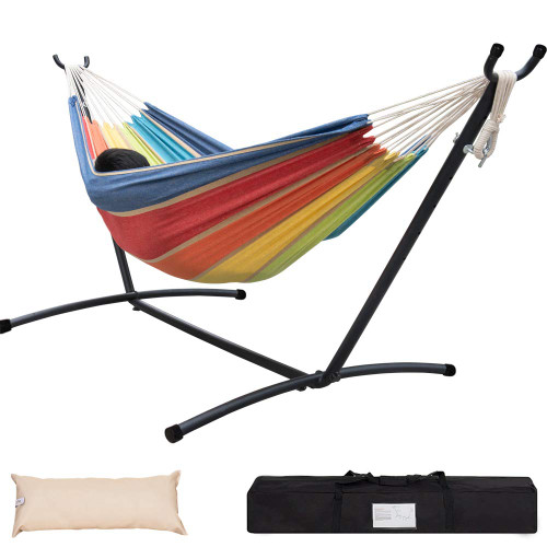 Lazy Daze Hammocks Double Hammock with 9FT Space Saving Steel Stand Includes Portable Carrying Case, 451 Pounds Capacity, Lime&Orange Stripe