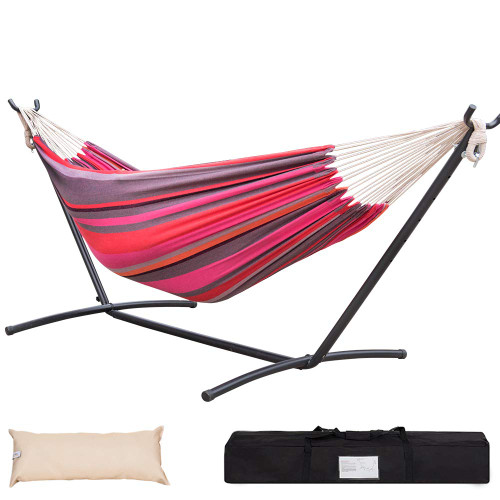Lazy Daze Hammocks Double Hammock with 9FT Space Saving Steel Stand Includes Portable Carrying Case, 450 Pounds Capacity, Cherry Stripe