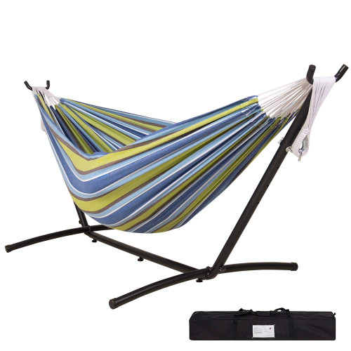Lazy Daze Hammocks Double Hammock with 9FT Space Saving Steel Stand Includes Portable Carrying Case, 450 Pounds Capacity, Yellow&Coffee