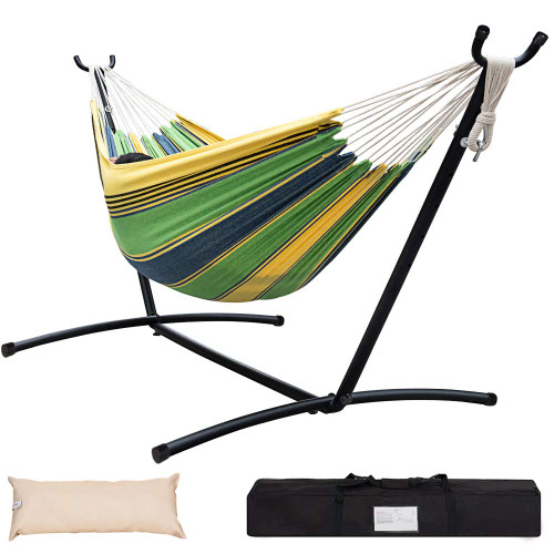 Lazy Daze Hammocks Double Hammock with 9FT Space Saving Steel Stand Includes Portable Carrying Case, 451 Pounds Capacity, Meadow Stripe