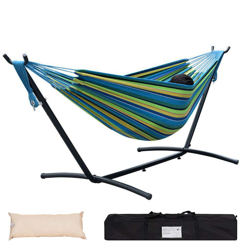Lazy Daze Hammocks Double Hammock with Space Saving Steel Stand Includes Portable Carrying Case and Head Pillow, 450 Pounds Capacity, Blue&Yellow