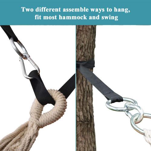 Lazy Daze Hammocks 7FT Tree Swing Straps Hanging Kit 2 PCS Versatile Hammock Straps with 2 Heavy Duty Carabiners, Portable Camping Hammock Accessories, Black