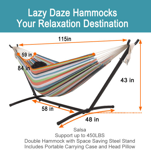 Lazy Daze Hammocks Double Hammock with Space Saving Steel Stand Includes Portable Carrying Case and Head Pillow, 450 Pounds Capacity (Blue&Orange)