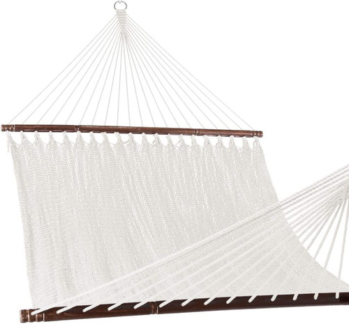 Lazy Daze Hammocks 55 Inch Double Caribbean Hammock Hand Woven Polyester Rope Outdoor Patio Swing Bed, White