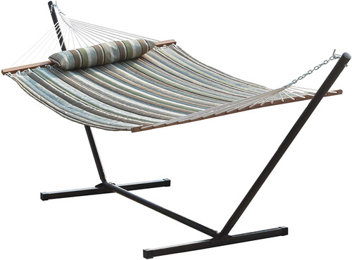 Lazy Daze Hammocks 12 Feet Steel Hammock Stand with Quilted Fabric Hammock Combo and Pillow, Olive Green/Taupe Stripes