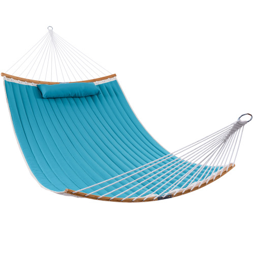 13 FT Double Quilted Fabric Hammock, Curved Bamboo Bar, Large Folding Portable Hammock