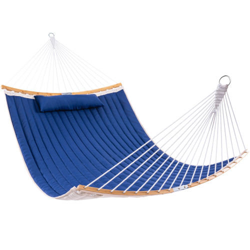 Lazy Daze 13 FT Double Quilted Fabric Hammock with Curved Bamboo Bar, Detachable Pillow, Carrying Bag, Large Folding Portable Hammock, Navy Blue