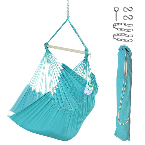 Orange Carrying Bag and Hanging Hardware Lazy Daze Hammocks XXL Hanging Rope Hammock Chair Swing Seat with Drink Holder Weight Capacity 300 Lbs
