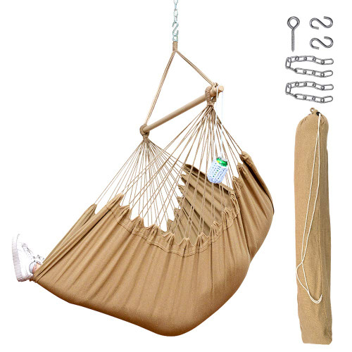 Lazy Daze Hammocks Xxl Hanging Rope Hammock Chair Swing Seat With Drink Holder Carrying Bag And Hanging Hardware Weight Capacity 300 Lbs Tan