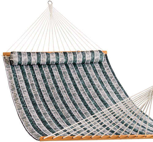 Lazy Daze Hammocks Quilted Fabric Double Size Spreader Bar Heavy Duty Stylish Hammock Swing with Pillow for Two Person Blue /& Brown Stripe