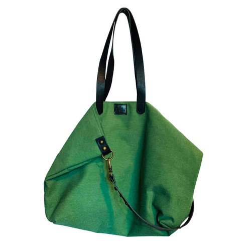 Leather and Cotton Canvas Tote Green