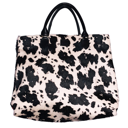 Black White CowHide Tote
