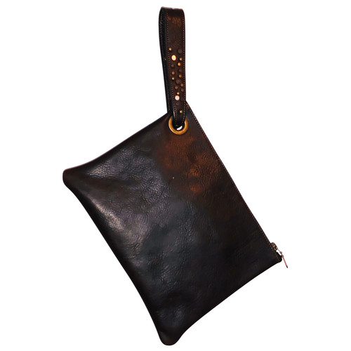 Dark Brown Leather Wristlet