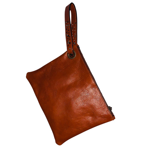 Chestnut Leather Wristlet