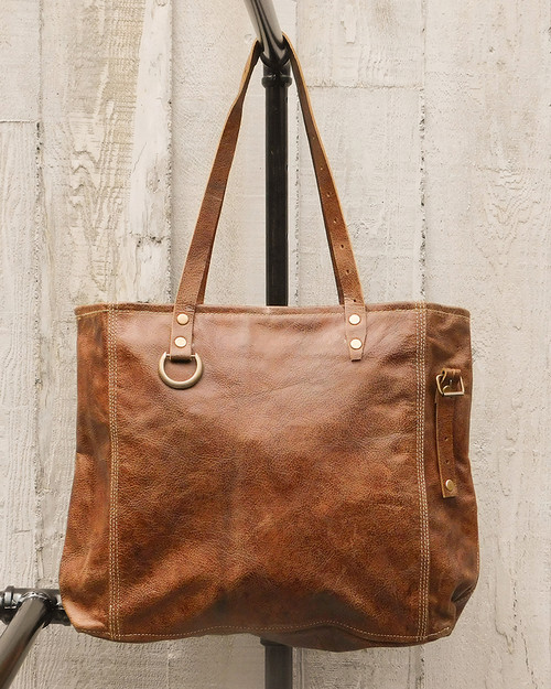 Walnut Leather Shoulder Tote