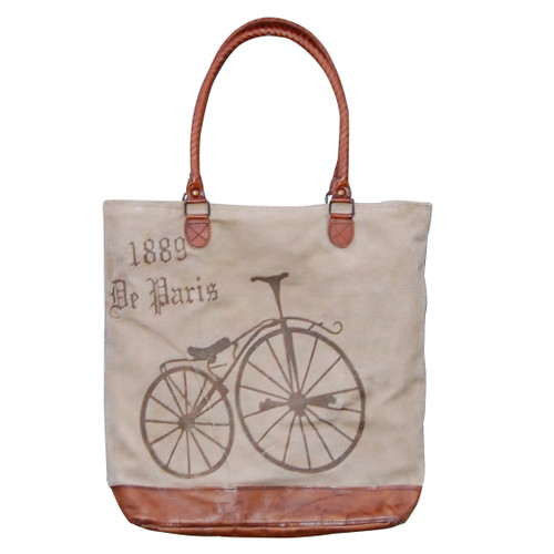 Bicycle Leather Bottom Tote