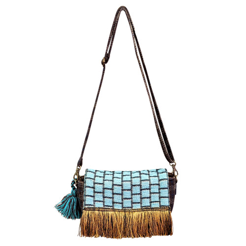 Fringed Turquoise Small Crossbody