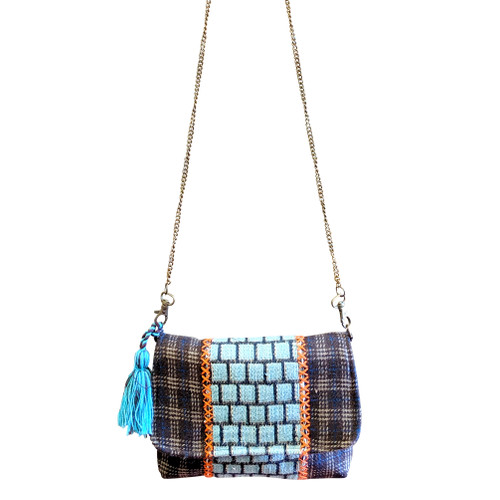 Turquoise and Plaid Crossbody