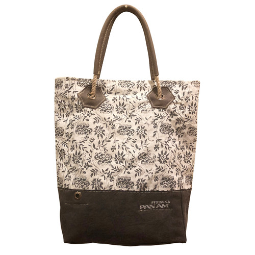 Canvas Gray White Floral Print Tote