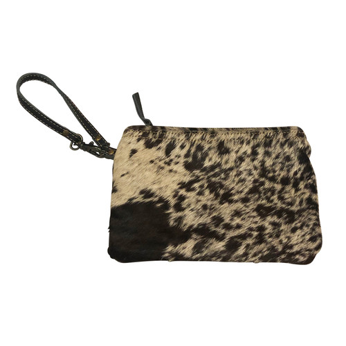 Cowhide Wristlet Black and White