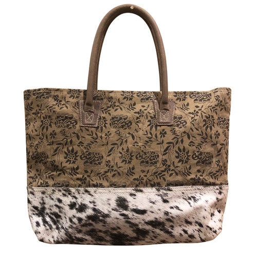 Cowhide Bottom Floral Canvas Tote