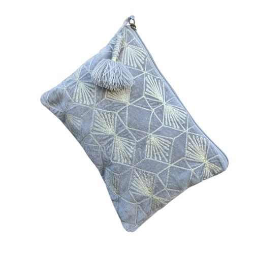 Large Gray Diamonds Pouch