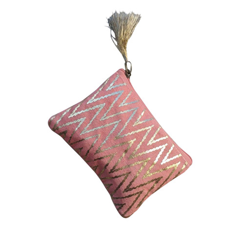 Peach Gold Zig Zag Coin Purse