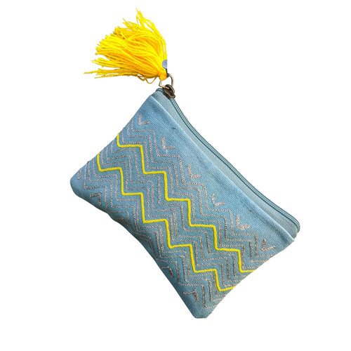 Yellow Zig on Turquoise Coin Purse