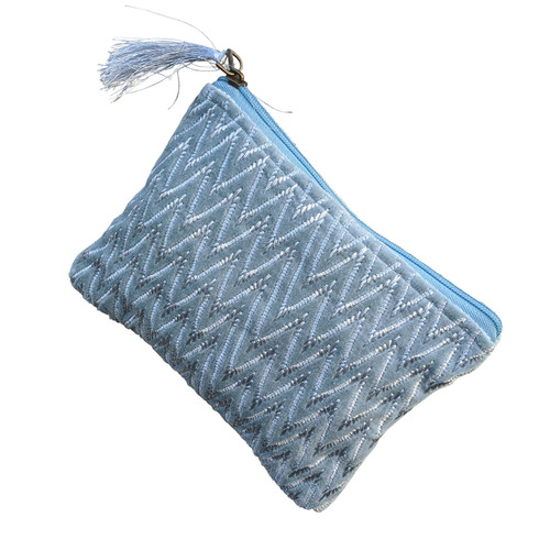 Blue Silver Zig Zag Medium Pouch