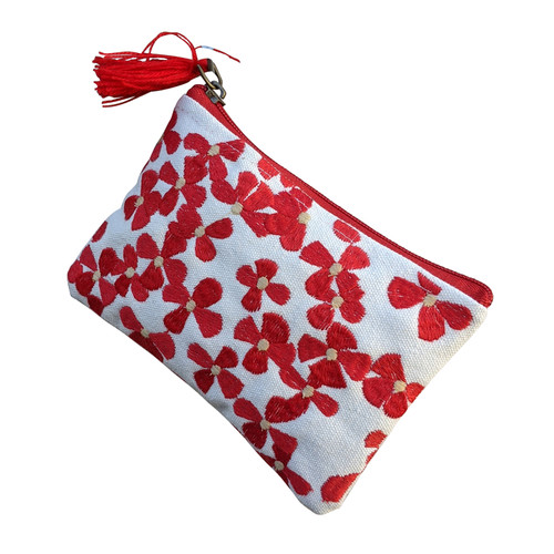 Red White Floral Coin Purse