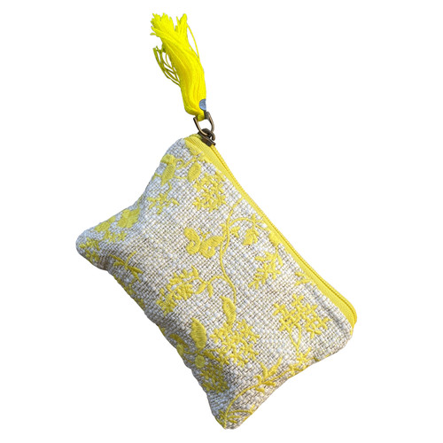 Yellow Embroidered Coin Purse