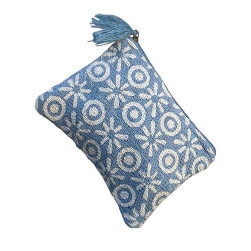 Blue and White XOs Medium Pouch